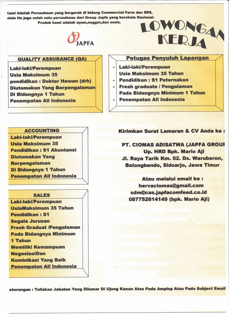 Lowongan Kerja Pt Japfa Group Lowongan Fakultas Pertanian